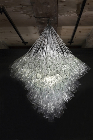 broken glass chandelier